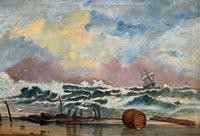 Large Spectacular 19th Century British Seascape Oil Painting - Shipwreck in Rough Seas! (3 of 13)