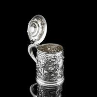 Antique Solid Sterling Silver Large Tankard with Royal Marines Officer Interest - Goldsmiths & Silversmiths Co 1900 (21 of 28)