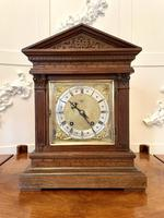 Antique Carved Oak Brass Face Eight Day Mantel Clock