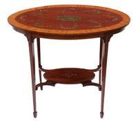 19th Century Decorated Satinwood & Mahogany Table  / Occasional Table (3 of 6)