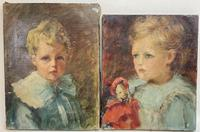 Two Oil on Canvas Portraits of Young Children