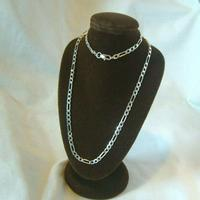 """Vintage Silver Necklace 1970s Figaro Link 925 Solid Silver 19"""" Length"""