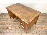 Early 20th Century Antique Oak Pedestal Desk (5 of 9)