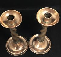 Pair of Arts and Crafts Oak Barley Twist and Planished Copper Candlesticks. (5 of 6)