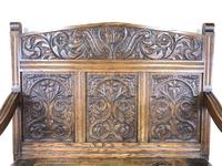 Victorian Carved Oak Settle or Hall Bench (4 of 16)
