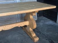 Large French Bleached Oak Trestle Farmhouse Dining Table (14 of 14)