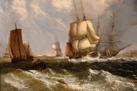 """Oil Painting by William Broome of Ramsgate """"Coastal Shipping"""" (5 of 7)"""