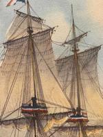 "Seascape Oil Painting Naval Frigate Ships Napoleonic War Sea ""Battle Trafalgar"" (24 of 25)"