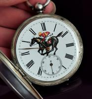 Victorian Silver Pocket Watch, Enamelled, Horse Racing (10 of 10)