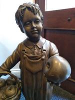 A Bronze Of A Young Girl With A Basket Full Of Apples (6 of 7)
