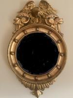 Fine Irish Regency Gold Giltwood Convex Mirror with Eagle Crest (4 of 6)