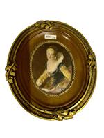 French Signed Portrait Miniature in Wood & Brass Frame c.1925 (8 of 8)