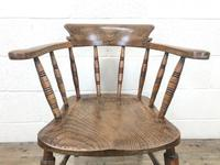 Antique Ash and Elm Smoker's Bow Chair (m-2303) (3 of 10)