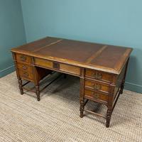 Stunning Victorian Maple & Co Antique Oak Pedestal Desk (7 of 9)