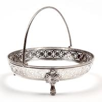 Large Victorian Circular Blue Opeline Glass Lined Silver Plated Basket (6 of 6)