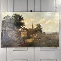 Antique Landscape Oil Painting of Farm Buildings with Cows Signed WP Cartwright 1892 (2 of 10)