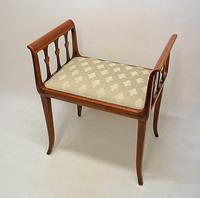 Elegant Edwardian Inlaid Mahogany  Piano Stool, Dressing  Stool, Re-upholstered (13 of 20)