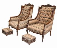Pair of Victorian Salon Chairs Arm Club Chair Stools (3 of 15)
