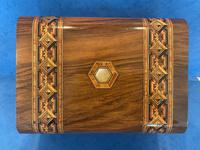 Victorian Walnut Jewellery Box with Tunbridge Ware Inlaid Bands (9 of 11)
