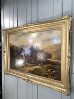 Antique Victorian large landscape oil painting in gilt gesso frame by E Yates (4 of 10)
