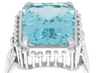 11.81ct Aquamarine & Platinum Cocktail Ring - Vintage c.1950 (8 of 9)