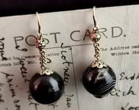 Antique Victorian Agate Drop Earrings, 9ct Gold (8 of 10)