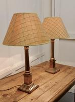 A Pair of Brass Corinthian Column Table Lamps with Shades (5 of 8)