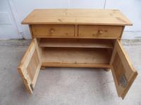 Low & Wide Antique Pine Waxed Bedside Cabinet / Sofa Table (9 of 9)