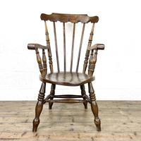 Antique Ash & Elm Armchair with Penny Seat