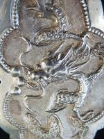 Fine Chinese Solid Silver Buckle #2 Dragons & Lingzhi Fungus (4 of 5)