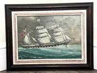 """Edwardian Watercolour """"Champion Of The Seas"""" Ship Black Ball Line Off Cape of Good Hope Signed Pierhead Artist Williams (34 of 39)"""