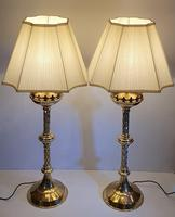 19th Century Gothic Brass Candlesticks Polished & Converted to Table Lamps (5 of 5)