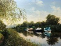 20th Century Oil Painting Pastoral Boats Heybridge Basin Canal Signed Listed Graham Petley (2 of 12)