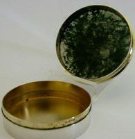 Super Rare English Solid Sterling Silver Moss Agate Snuff Box 1912 Antique (5 of 9)