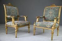 Pair of Gold French Louis XVI Style Armchairs (11 of 12)