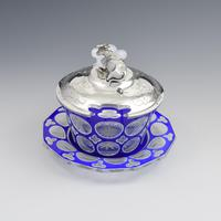 Early Victorian Blue & White Overlay Glass Butter Dish Silver Cow Cover (6 of 15)
