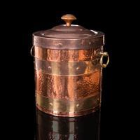Antique Fireside Bin, English, Copper, Brass, Decorative, Scuttle, Edwardian (4 of 12)