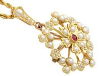 Ruby & Seed Pearl, 15ct Yellow Gold Pendant / Brooch - Antique c.1920 (4 of 14)