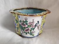 Antique Chinese Canton Enamel Planter / Pot Enamel on Copper Hand Painted (4 of 14)