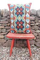 Swedish 'Folk Art' Vintage Large Woven Röllakan Cushion c.1930 (5 of 26)