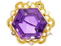 12.50ct Amethyst & Seed Pearl, 15ct Yellow Gold Brooch - Antique c.1890 (3 of 9)