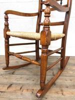 19th Century Rush Seat Rocking Armchair (4 of 9)