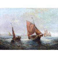 Pair of George H. Knight Oil on Canvas Paintings of Marine Scenes (3 of 9)