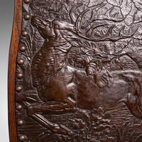 Antique Embossed Fire Screen, Oak, Leather, Fireside, Arts & Crafts, Edwardian (8 of 12)