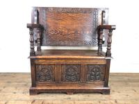 Antique Carved Oak Monk's Bench (4 of 10)