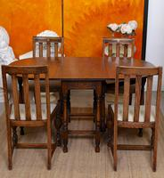 Oak Gateleg Dining Table & 4 Chairs Arts Crafts (10 of 17)