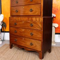 Chest on Chest of Drawers 19th Century Inlaid Mahogany (3 of 11)