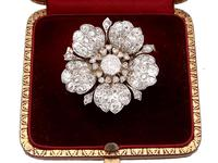 11.97ct Diamond and 10ct White Gold Floral Brooch - Antique c.1890