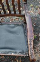 1910's Dark Oak Set of 10 Carved Dining Chairs with Pop out Seats. 8+2 Carvers (3 of 5)