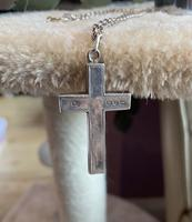 Silver cross and chain with forget me not detail. Birmingham 1897 (4 of 5)